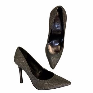 Guess Pointed Toe Pump Heel Silver Pewter 5.5